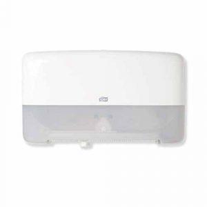 Tork Twin Mini Jumbo Toilet Roll Dispenser White T2