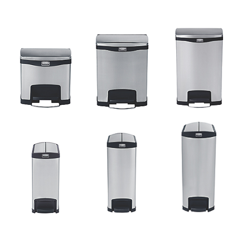 Rubbermaid Slim Jim Stainless Steel Bins