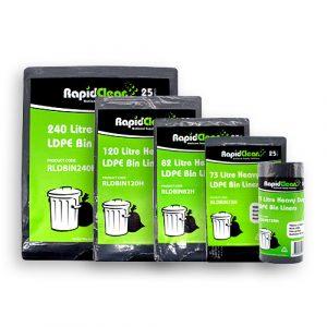 RapidClean Heavy Duty Black LDPE Garbage Bags